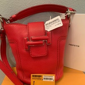 Gently Used Tod's Double T Mini Bucket Bag Red